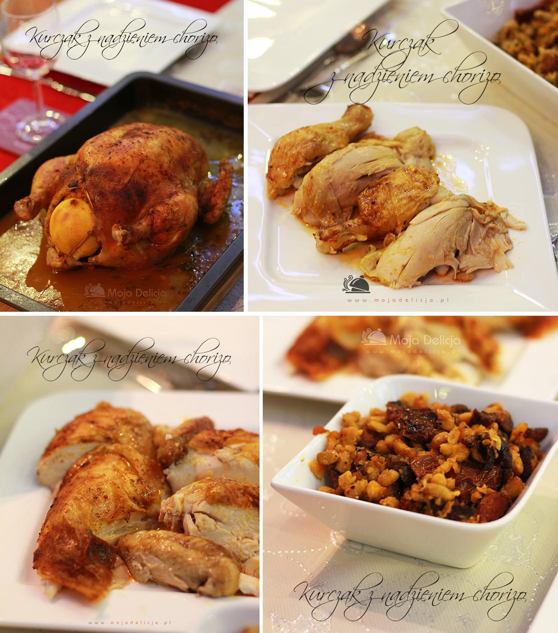 Kurczak pieczony nadziewany chorizo, fasolką i suszonymi pomidorami