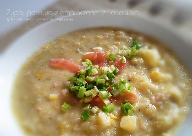 Kremowa zupa porowo-ziemniaczana z łososiem wędzonym