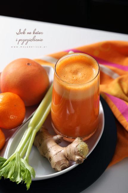 Sok z jabłek, pomarańczy, marchewki, selera i imbiru na katar i przeziębienie