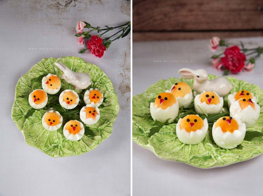 Wielkanocne kurczaki z jajek