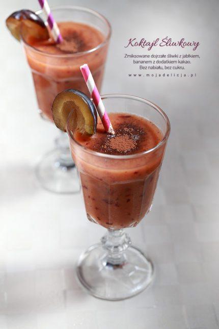 Smoothie – koktajl śliwkowy z kakao, z bananem i jabłkiem