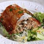Kulebiak z łososiem, pieczarkami i ryżem