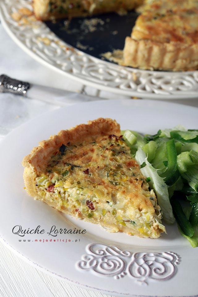 Quiche Lorraine, Tarta lotaryńska - quiche z porem, serem Gruyère i chrupiącymi skwarkami z boczku