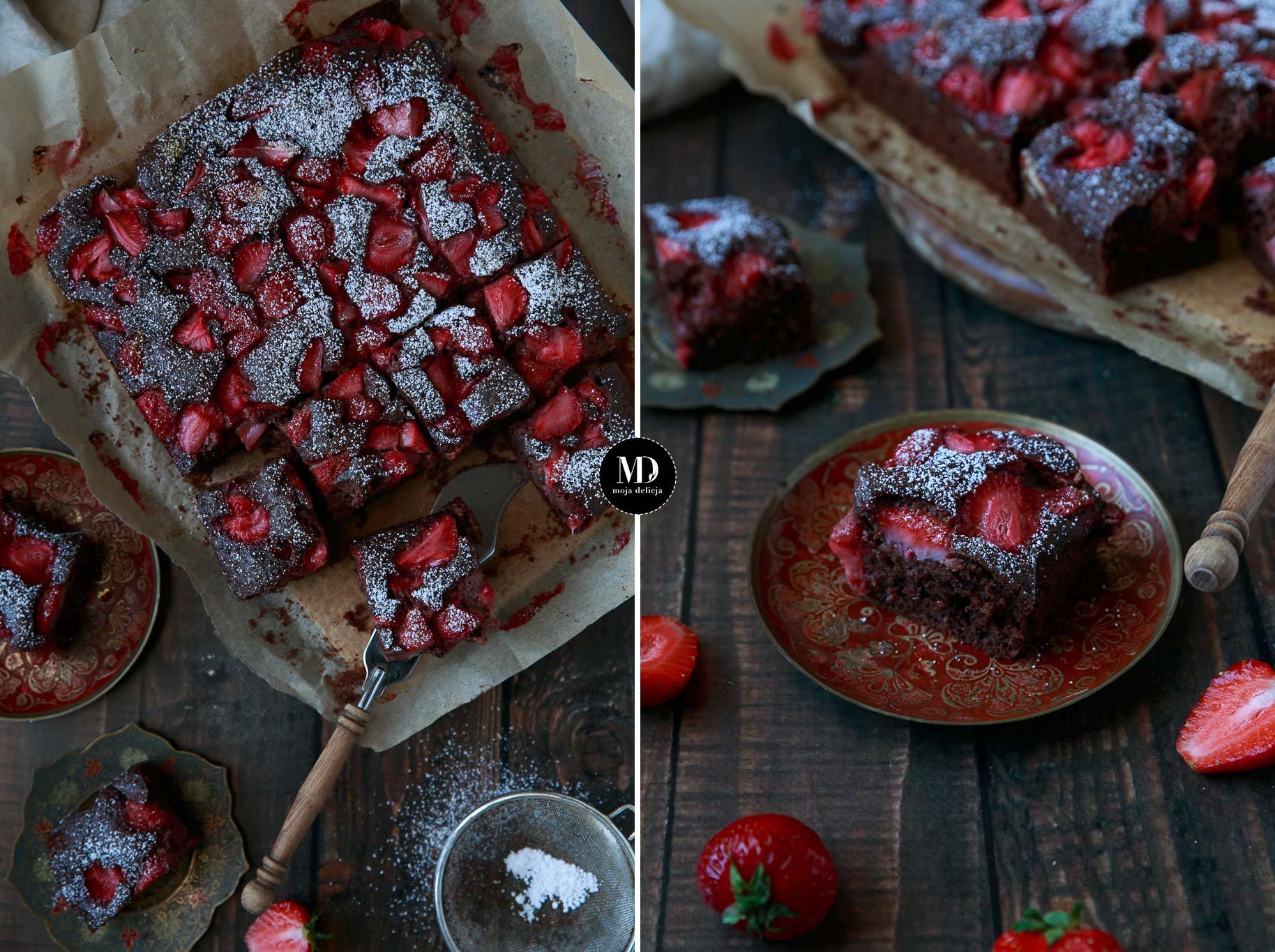 Czekoladowe ciasto z truskawkami – bez miksera