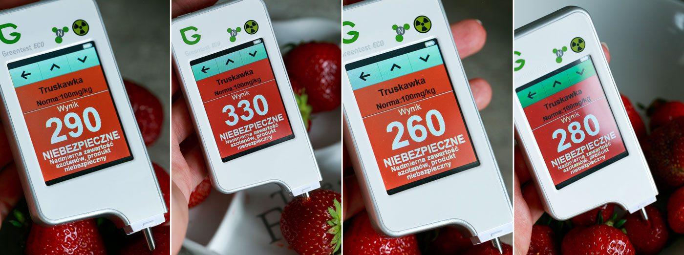 Greentest ECO – badanie różnych truskawek z jednego źródła, w różnych miejscach, norma została znacznie przekroczona