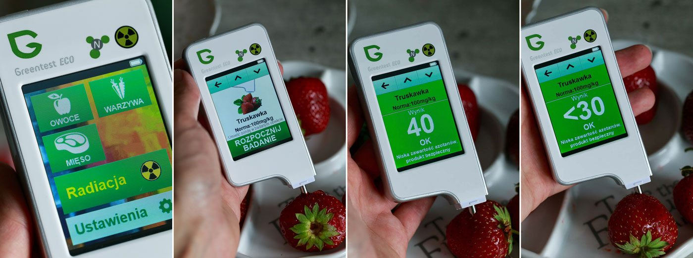 Greentest ECO - badanie truskawki, wynik w normie