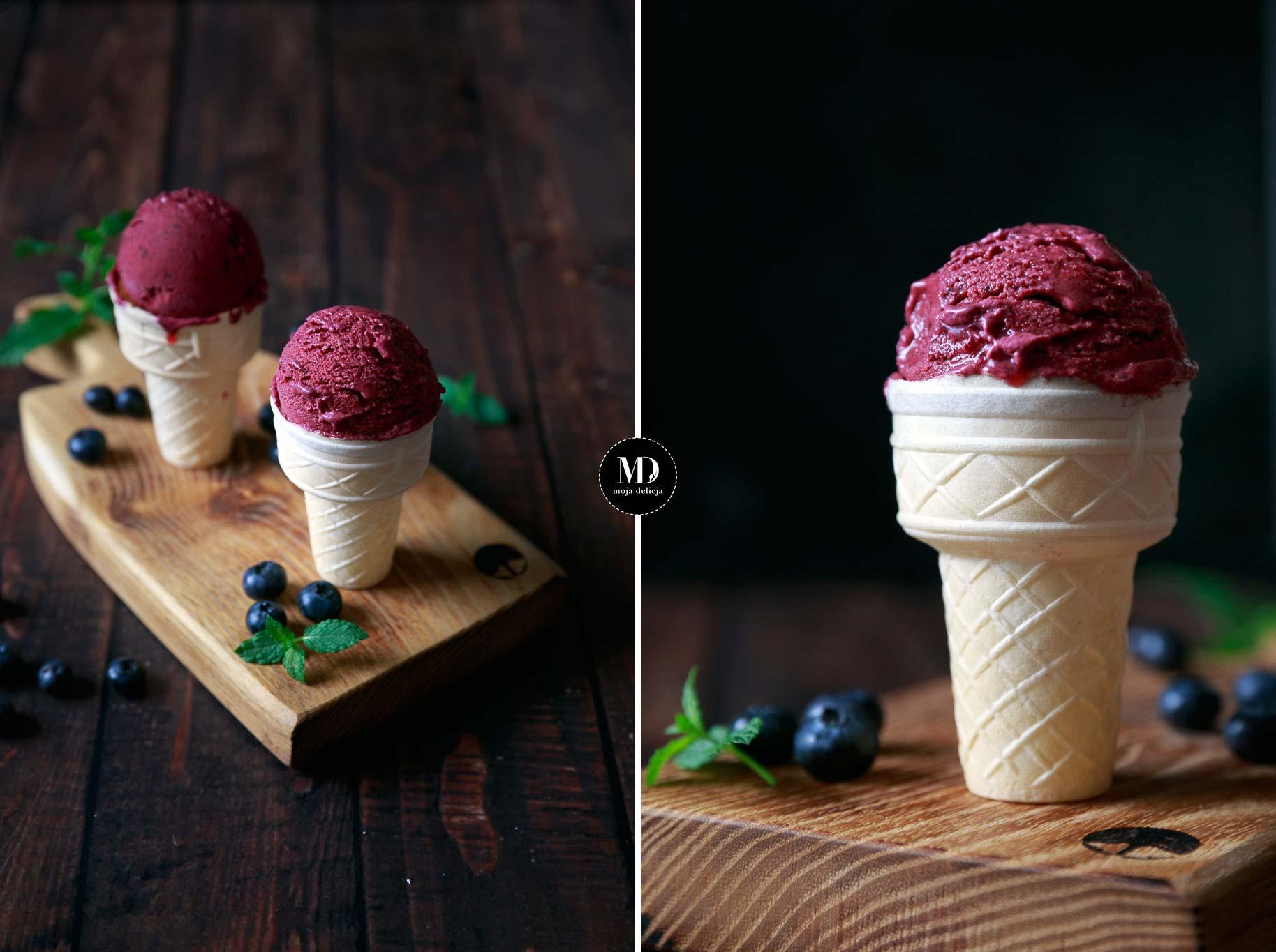Jogurtowe lody jagodowo-truskawkowe