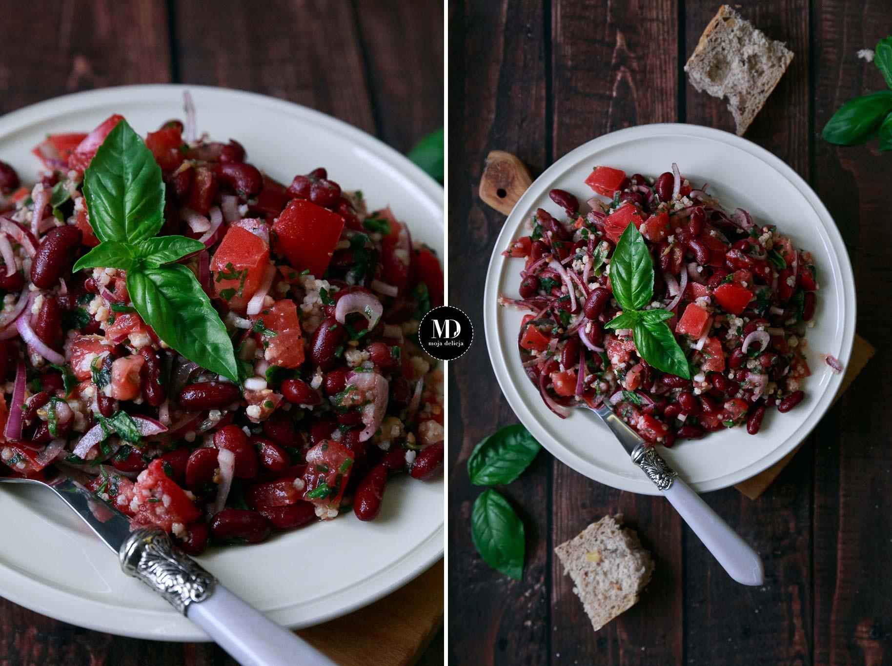 Sałatka z czerwonej fasoli, pomidora i kaszy jaglanej