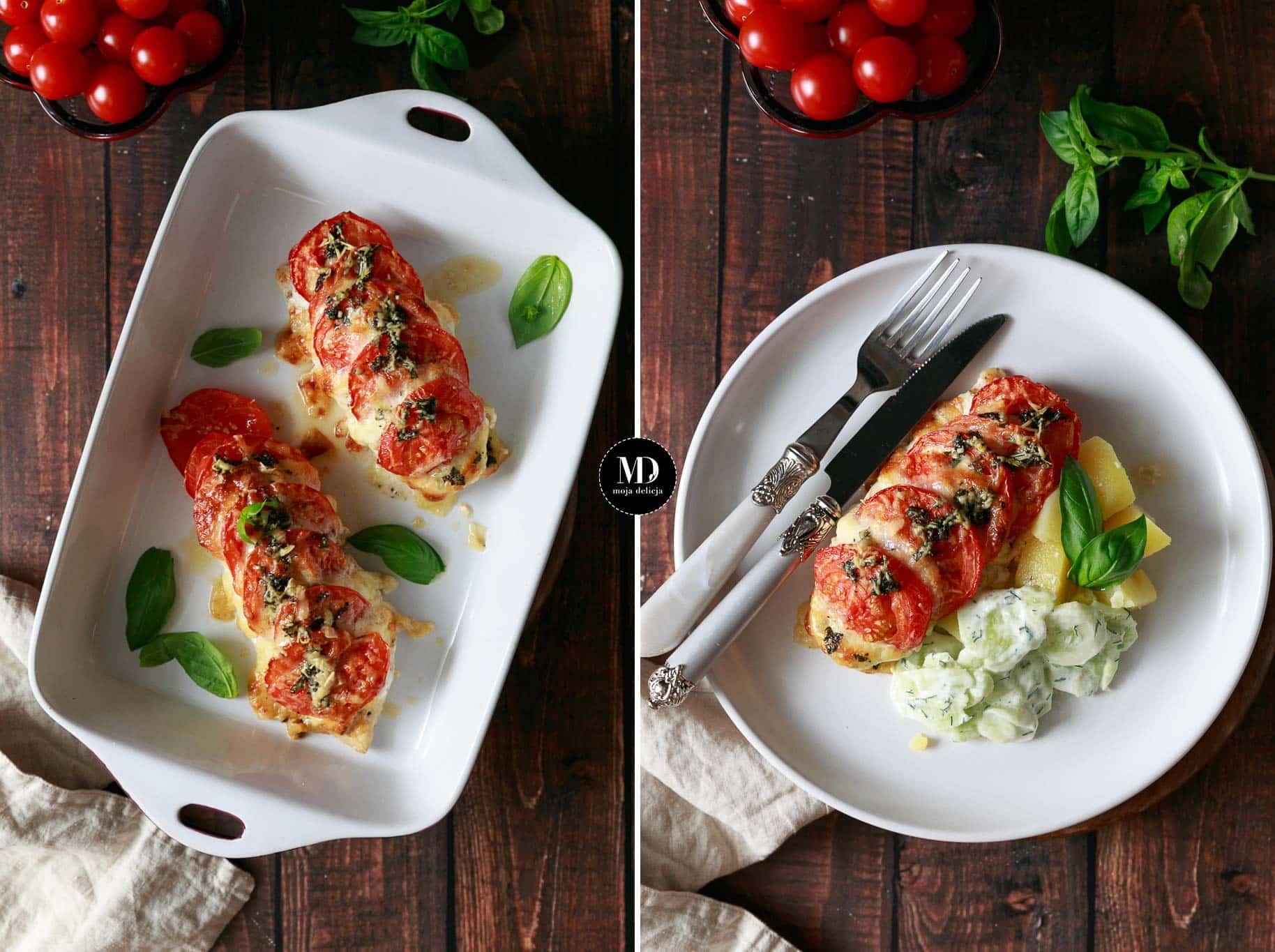 Pieczone piersi z kurczaka z mozzarellą i pomidorami