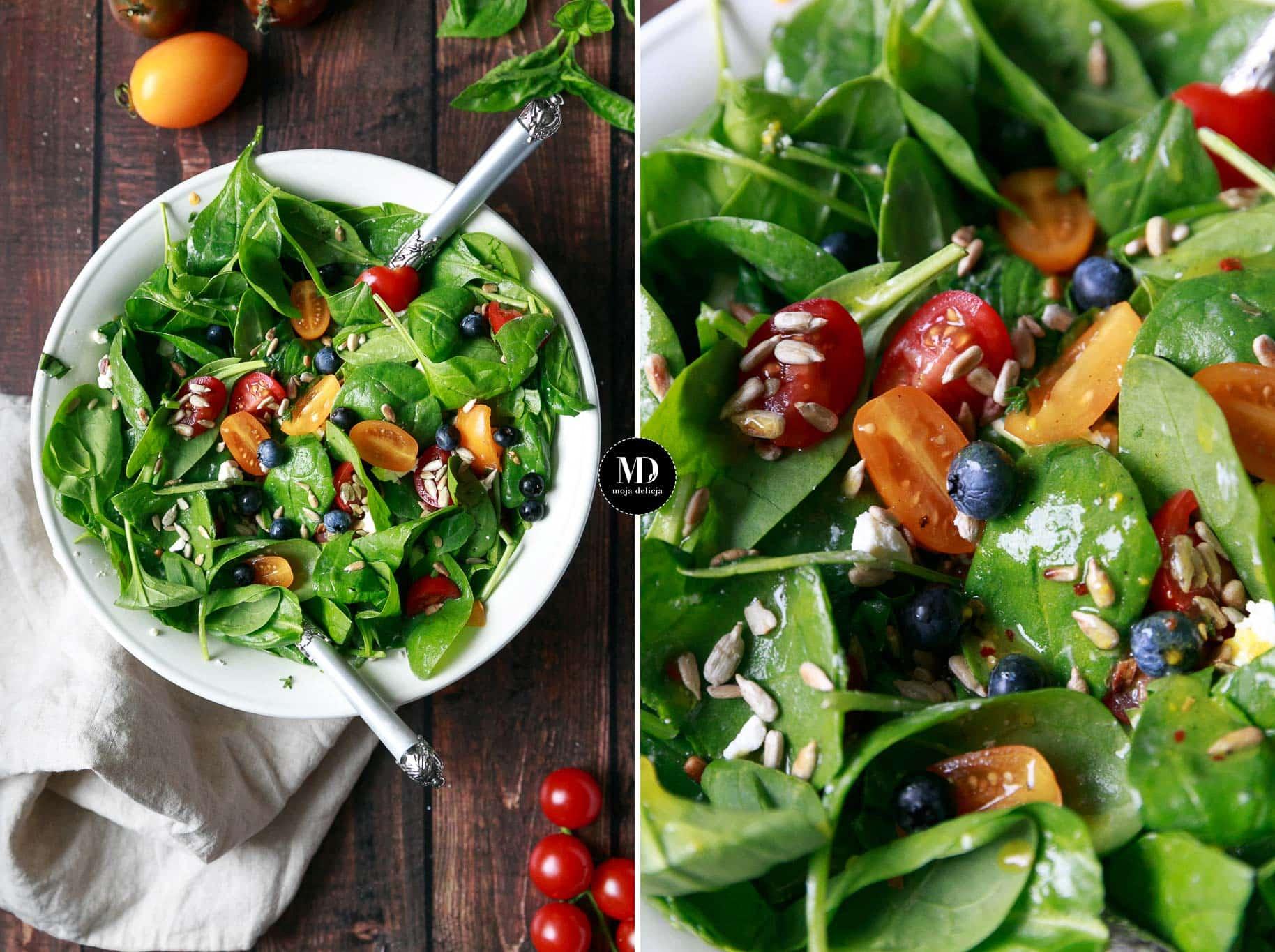 Sałatka ze szpinakiem, fetą, pomidorkami i słonecznikiem