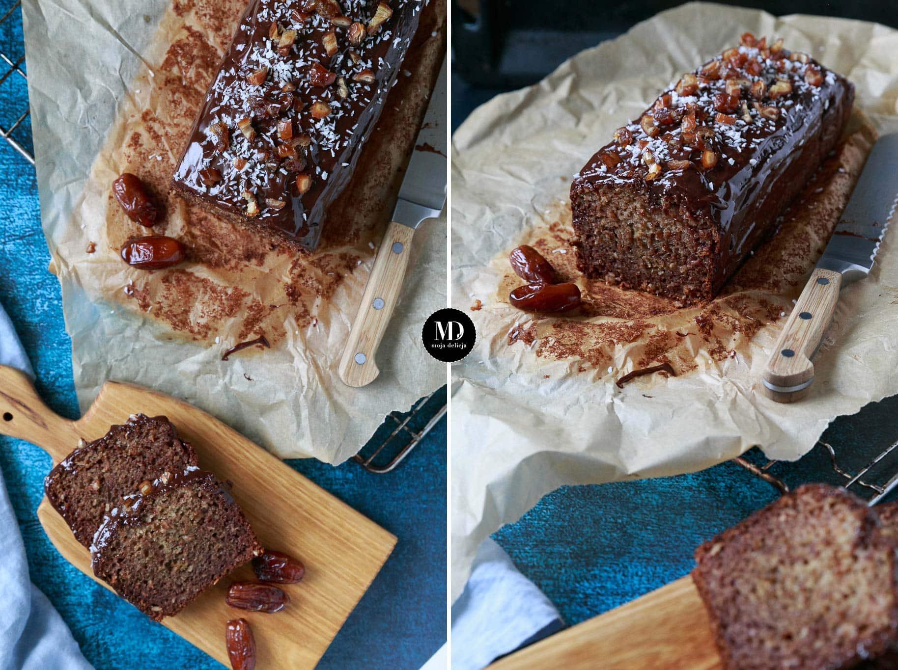 Ciasto daktylowe z kokosem bez cukru – bez miksera