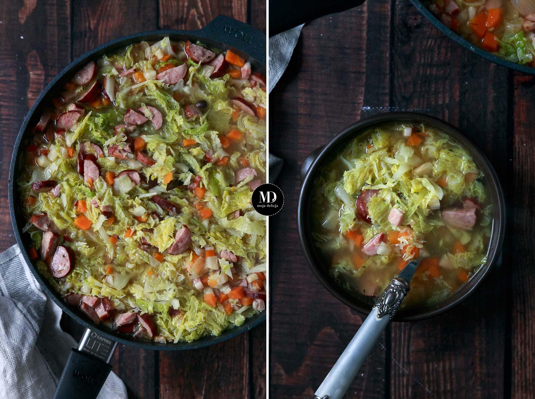 Rozgrzewająca zupa z kapustą i kiełbasą