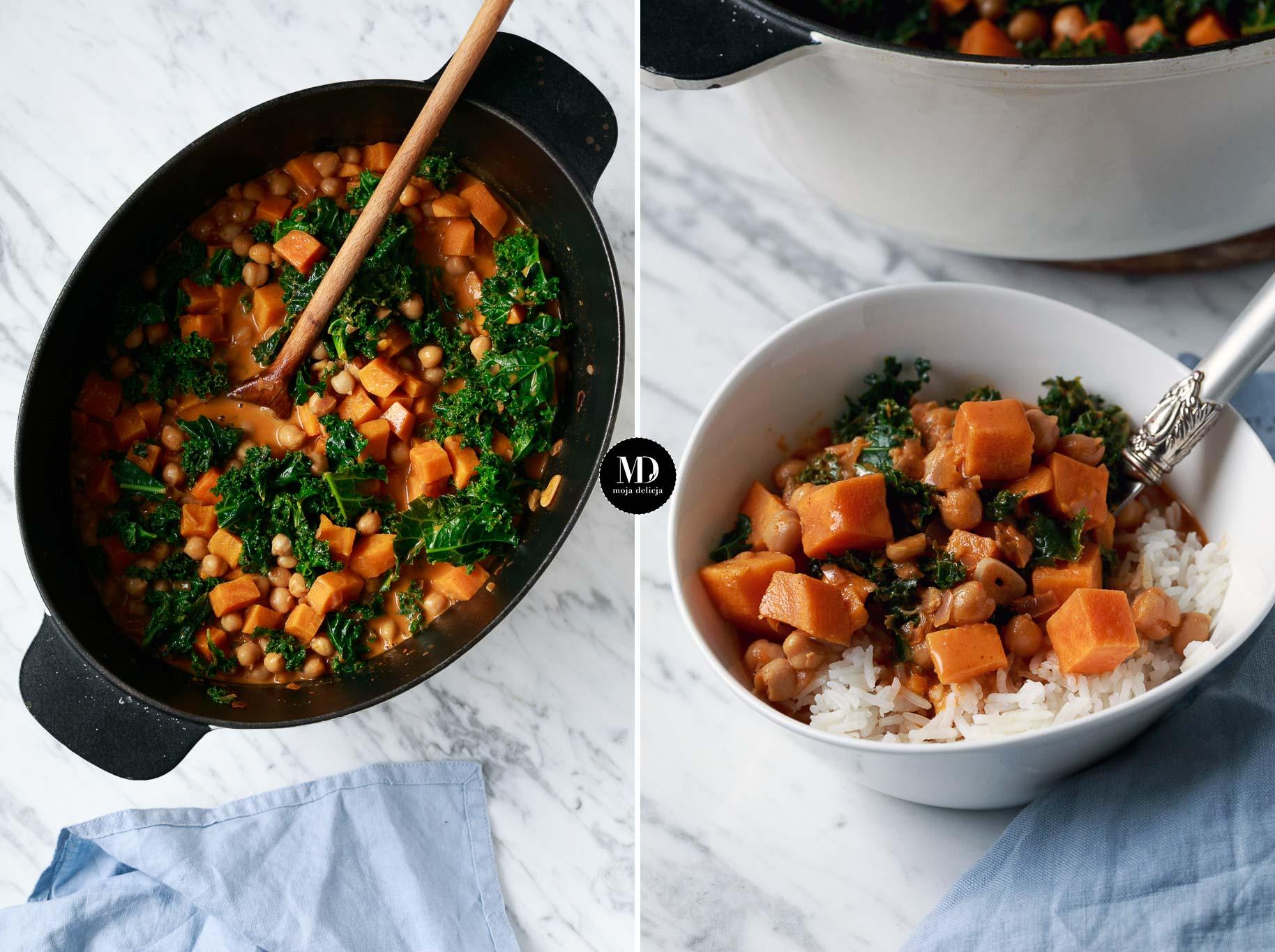 Curry z batatami, ciecierzycą i jarmużem