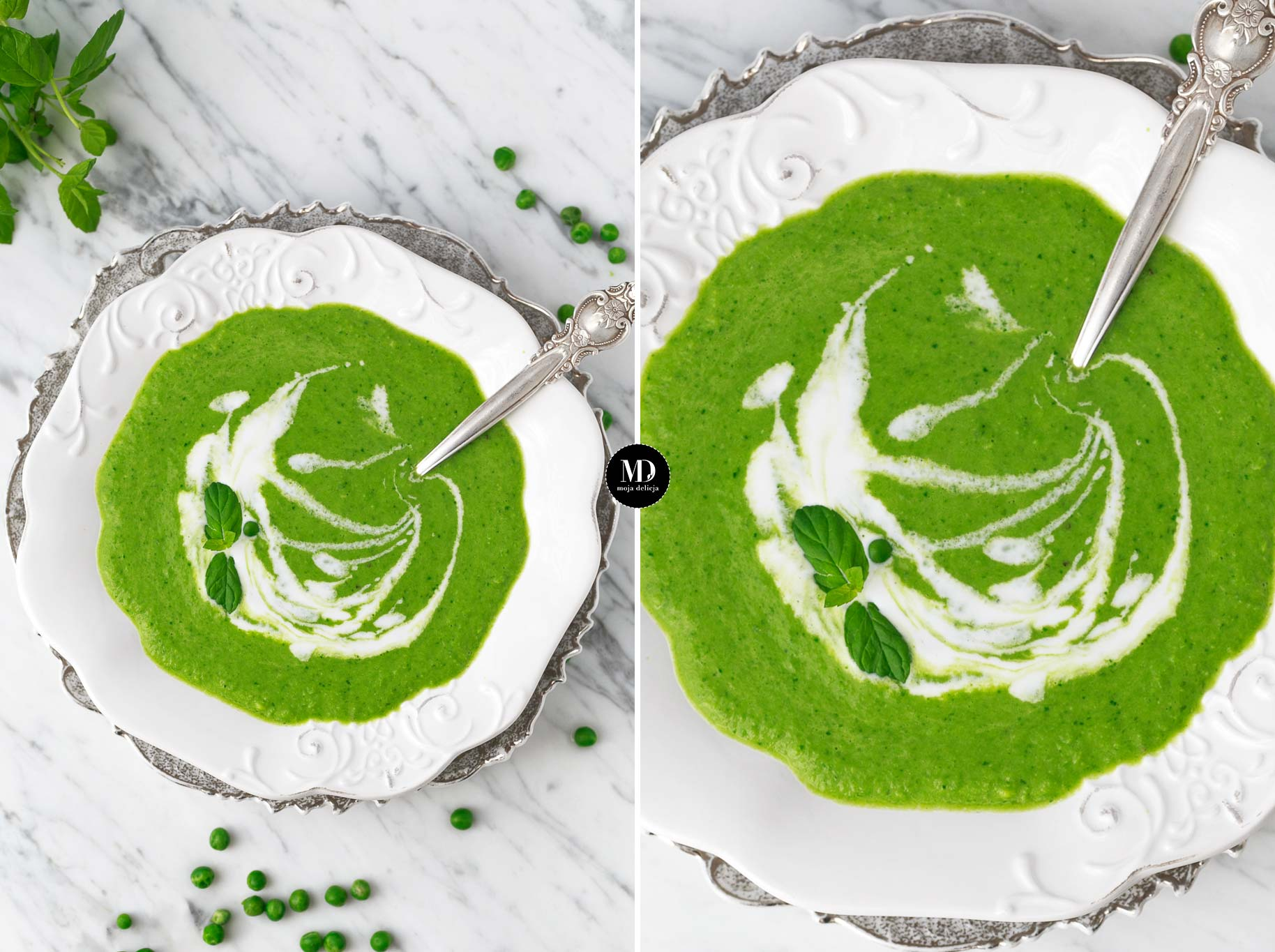 Zupa z groszku bez gotowania ze szpinakiem i mlekiem kokosowym