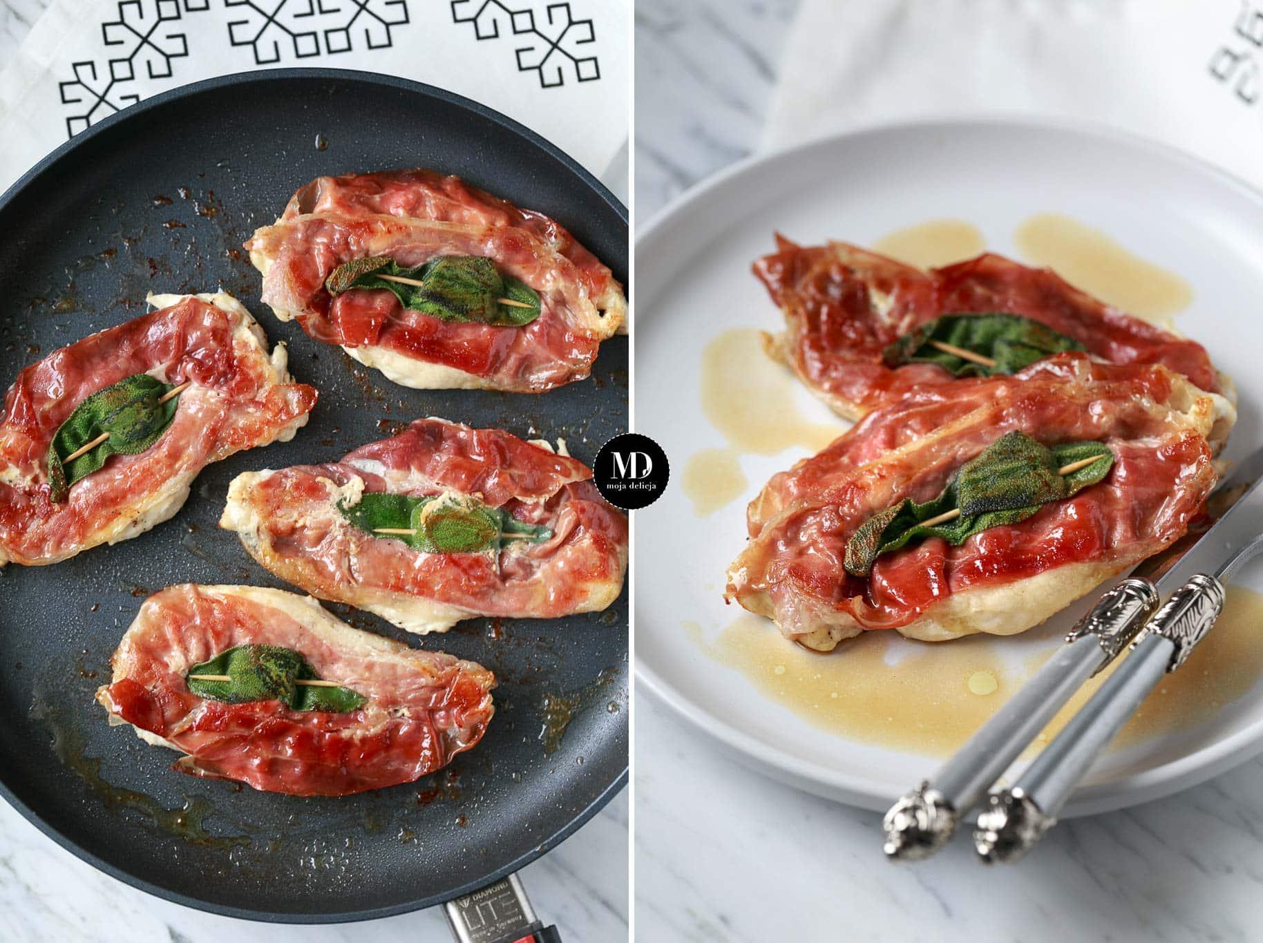 Kurczak z szynką parmeńską i szałwią, czyli Saltimbocca alla Romana z kurczakiem