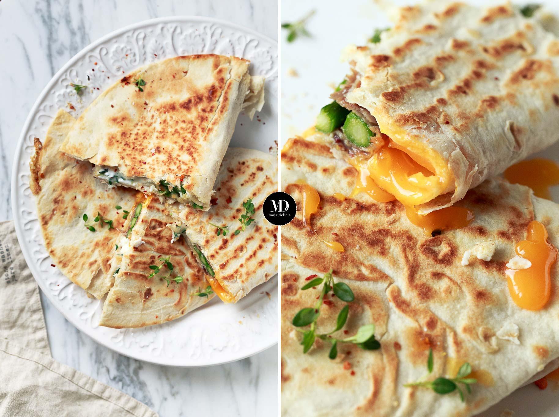 Tortilla ze szparagami, szynką i jajkiem