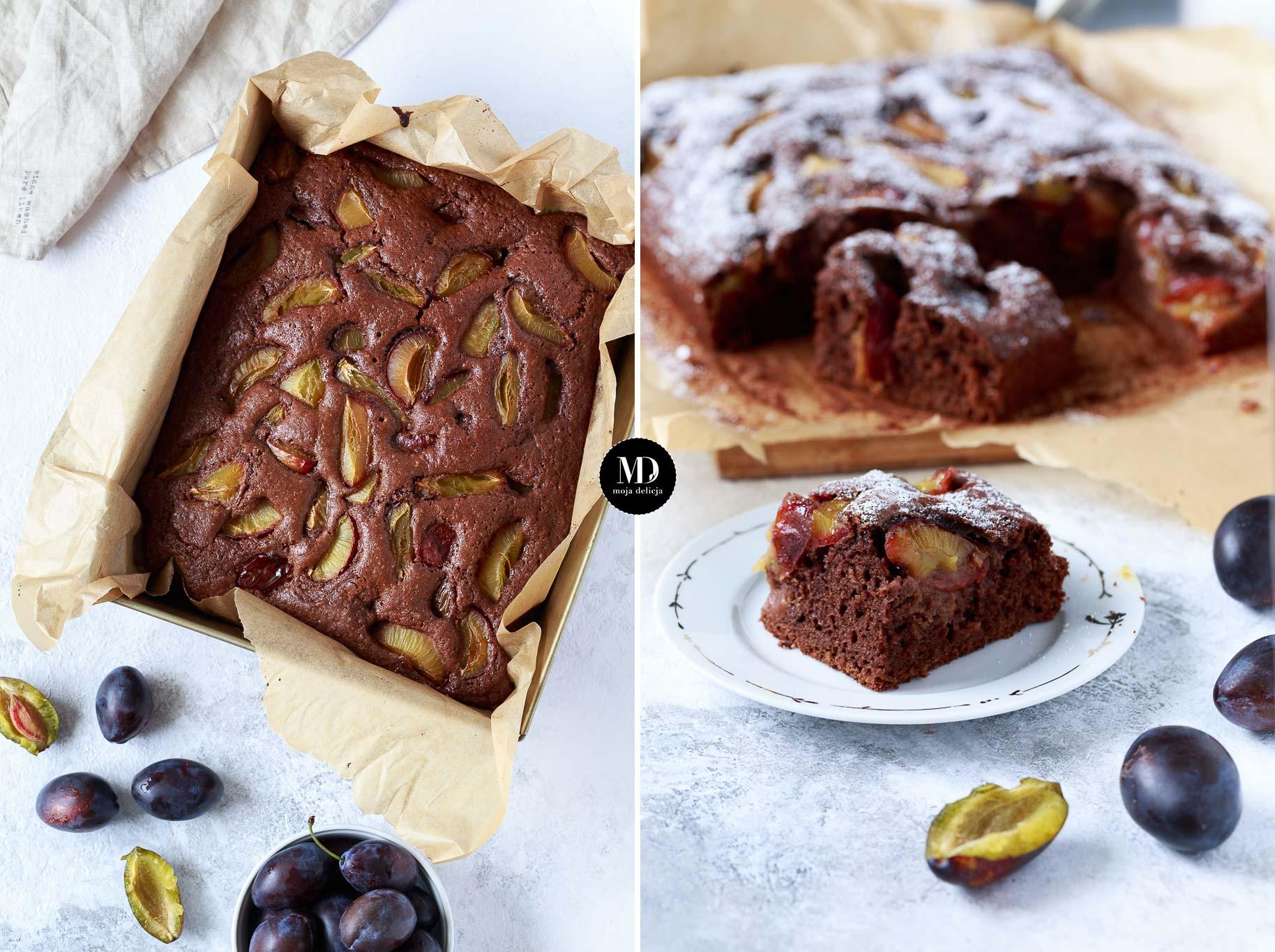 Czekoladowe ciasto ze śliwkami – bez miksera