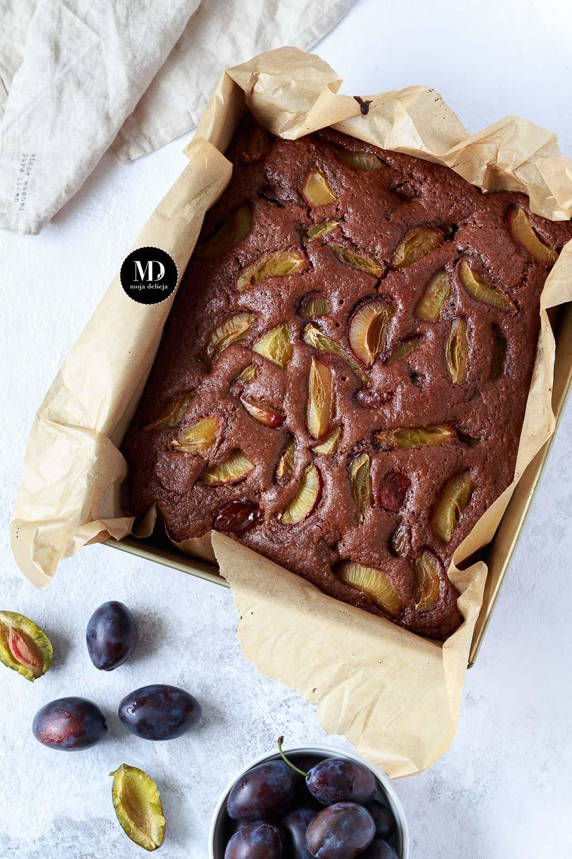 Czekoladowe ciasto ze śliwkami - bez miksera