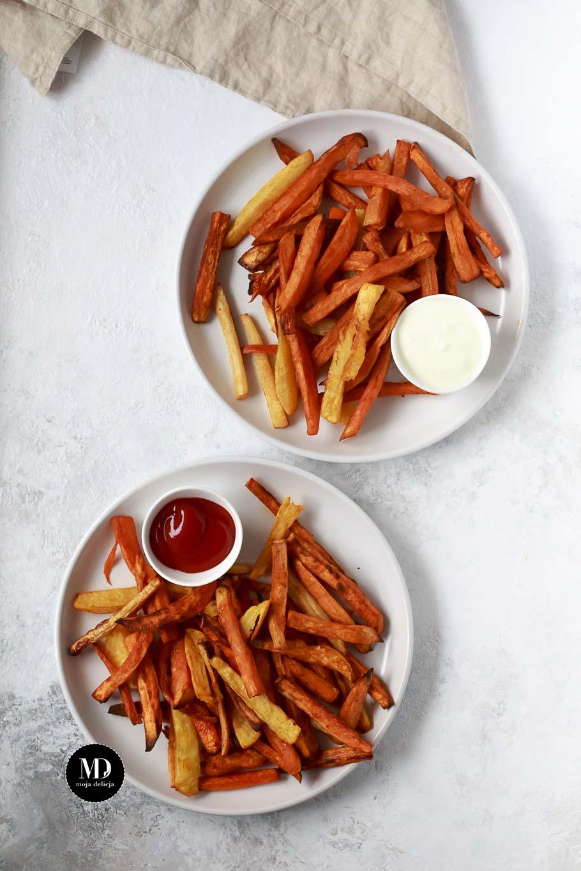 Zdrowe frytki z piekarnika - frytki z batatów, ziemniaków i warzyw korzeniowych
