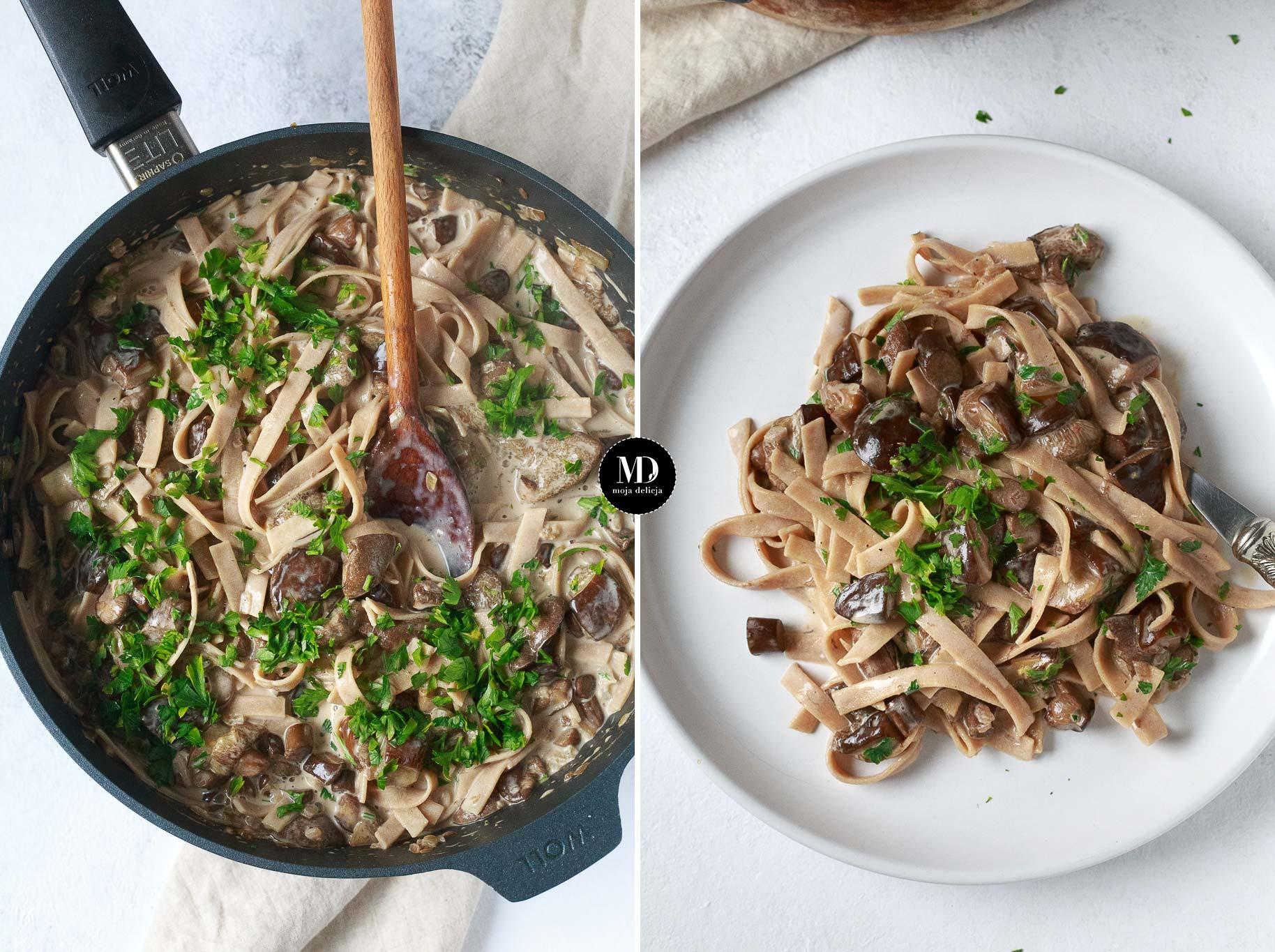 Makaron z sosem grzybowym ze świeżych grzybów