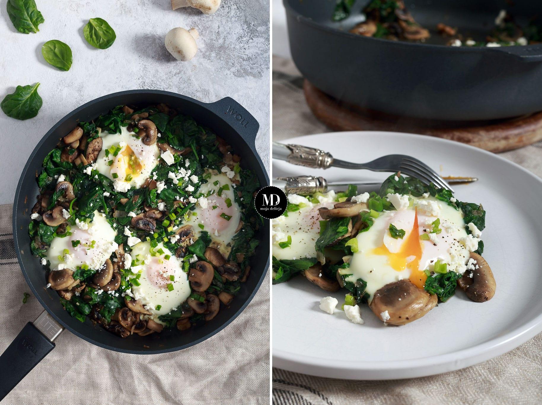 Jajka z pieczarkami i szpinakiem