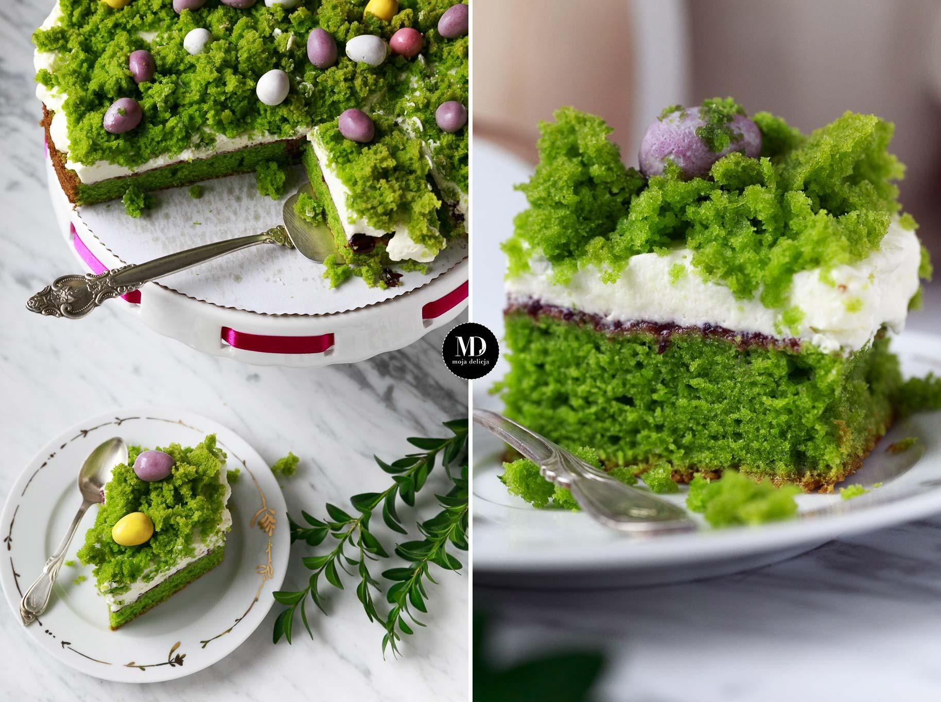 Wielkanocny Leśny Mech – bez miksera – Tort szpinakowy z wegańską bitąśmietaną
