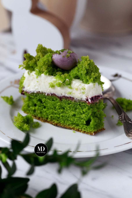 Wielkanocny Leśny Mech - bez miksera - Tort szpinakowy z wegańską bitąśmietaną
