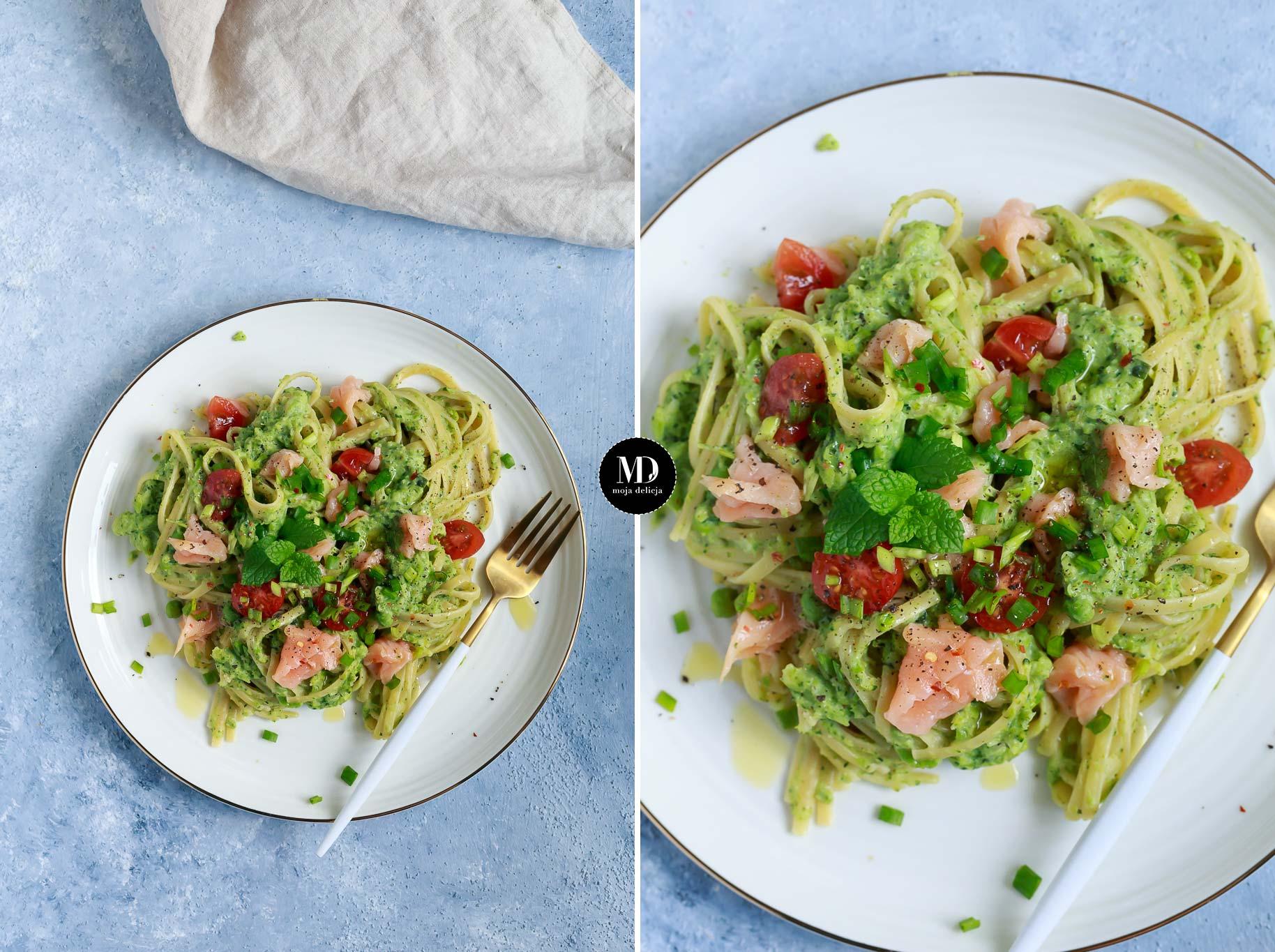 Makaron z sosem z brokułu i zielonego groszku