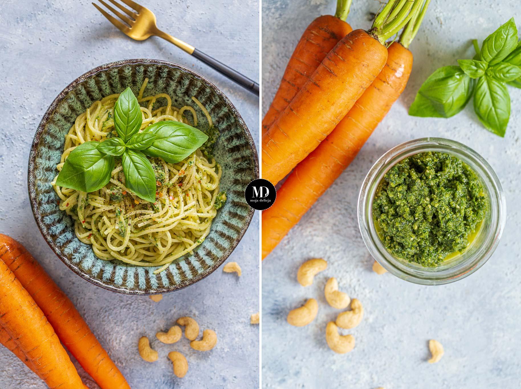 Makaron spaghetti z pesto z natki marchewki