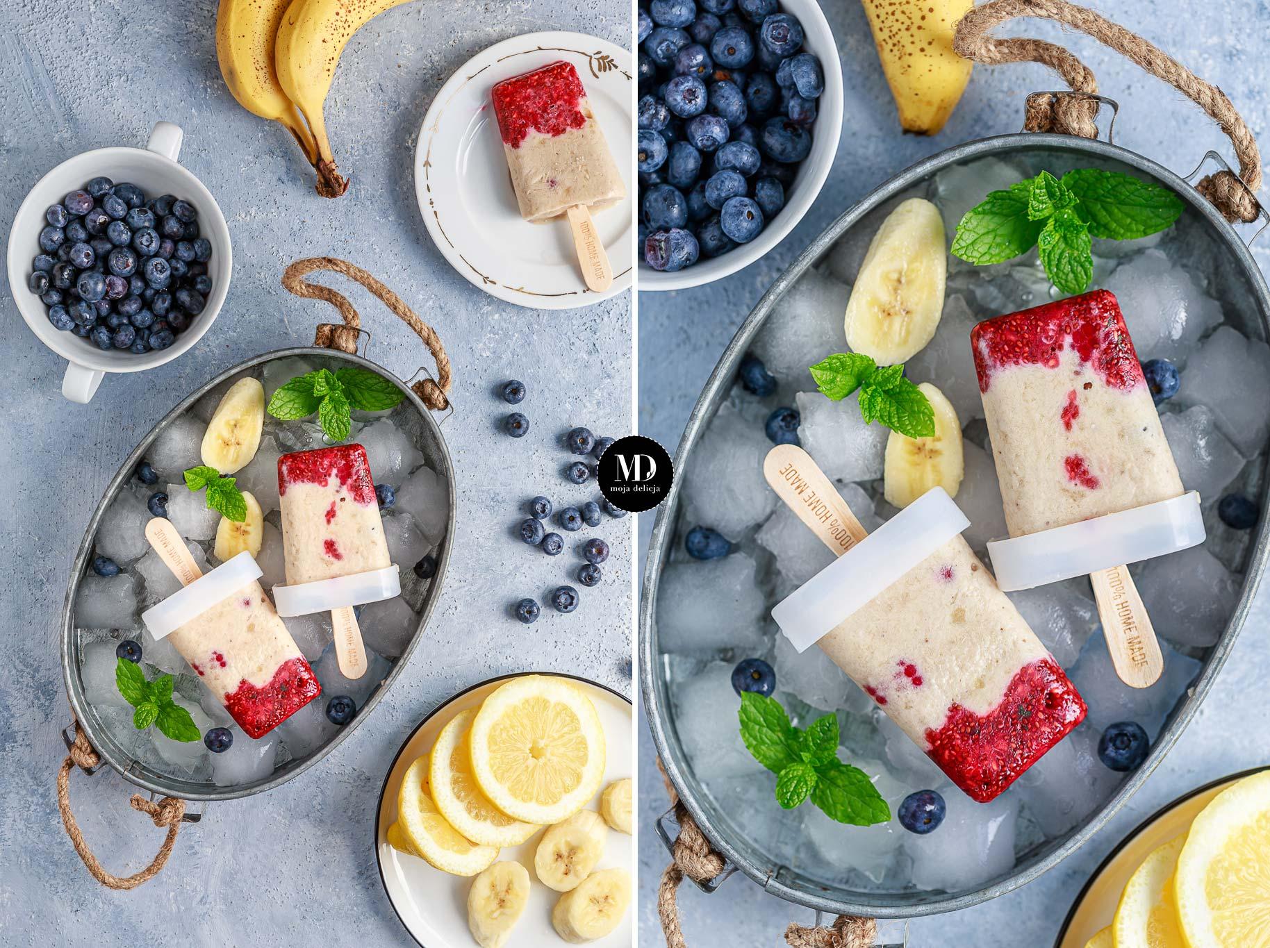 Lody bananowe z malinami – domowe lody z szybkiem dżemem z malinami, chia, tymiankiem – bez cukru